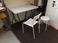 WHITE IKEA DESK + CHAIR + STOOL (bought in this January) for just £10 (worth £28)