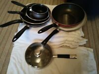 pots and frying pans/wok /various sizes/one ceramic lined pan.5inch-11inch