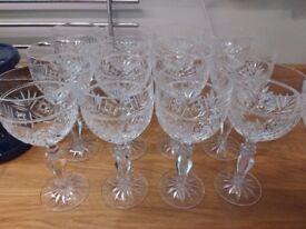 12 cut glass wine glasses