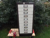 Bisley 10 Drawer Filing Cabinet Excellent For Paperwork Storage Tools Parts Hobby Craft Artist Home
