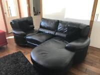 3 seater leather sofa in black