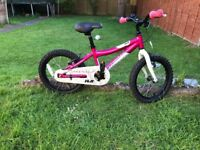 Children's Bike 16 inch wheel Adventure, two available, one blue, one pink