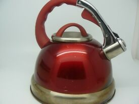 Prima 3.5L Stainless Steel Red Whistling Gas Hob Camping Kettle