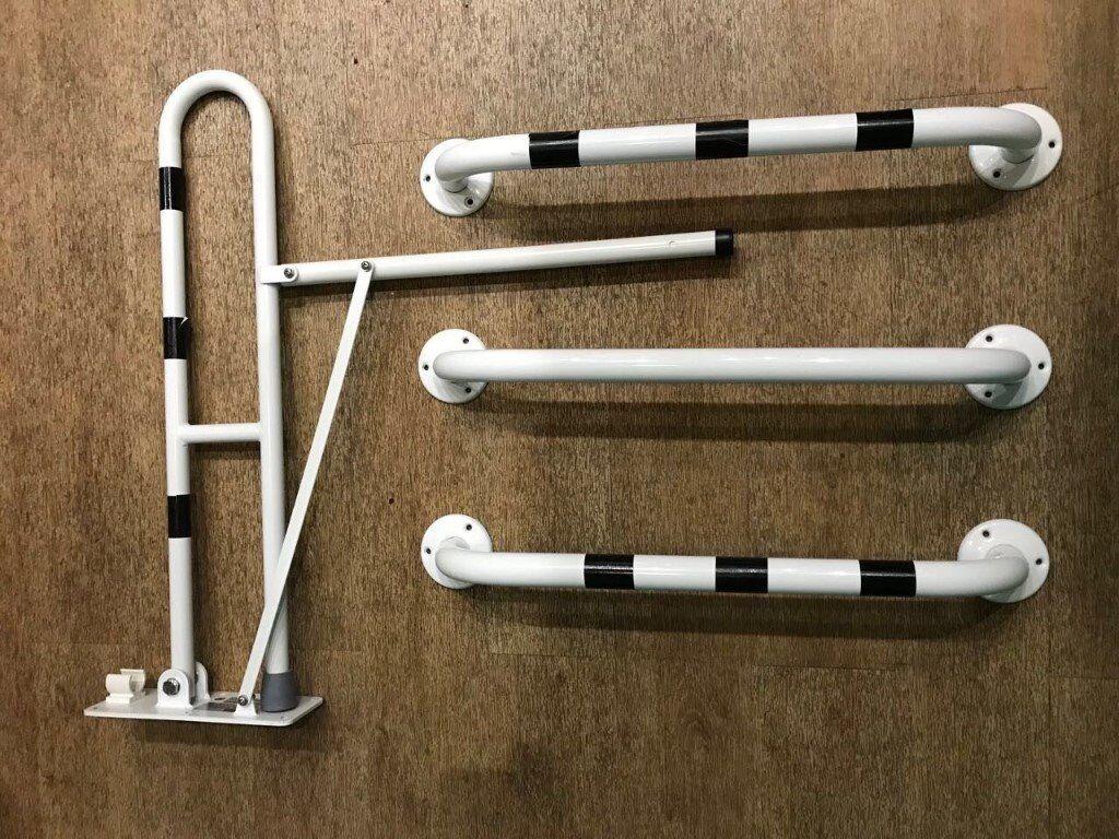 Disabled Toilet Grab Rail Pack - DDA Bathroom WC Hinged Support ...