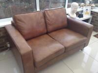 Nash brown/tan leather 2 seater sofa