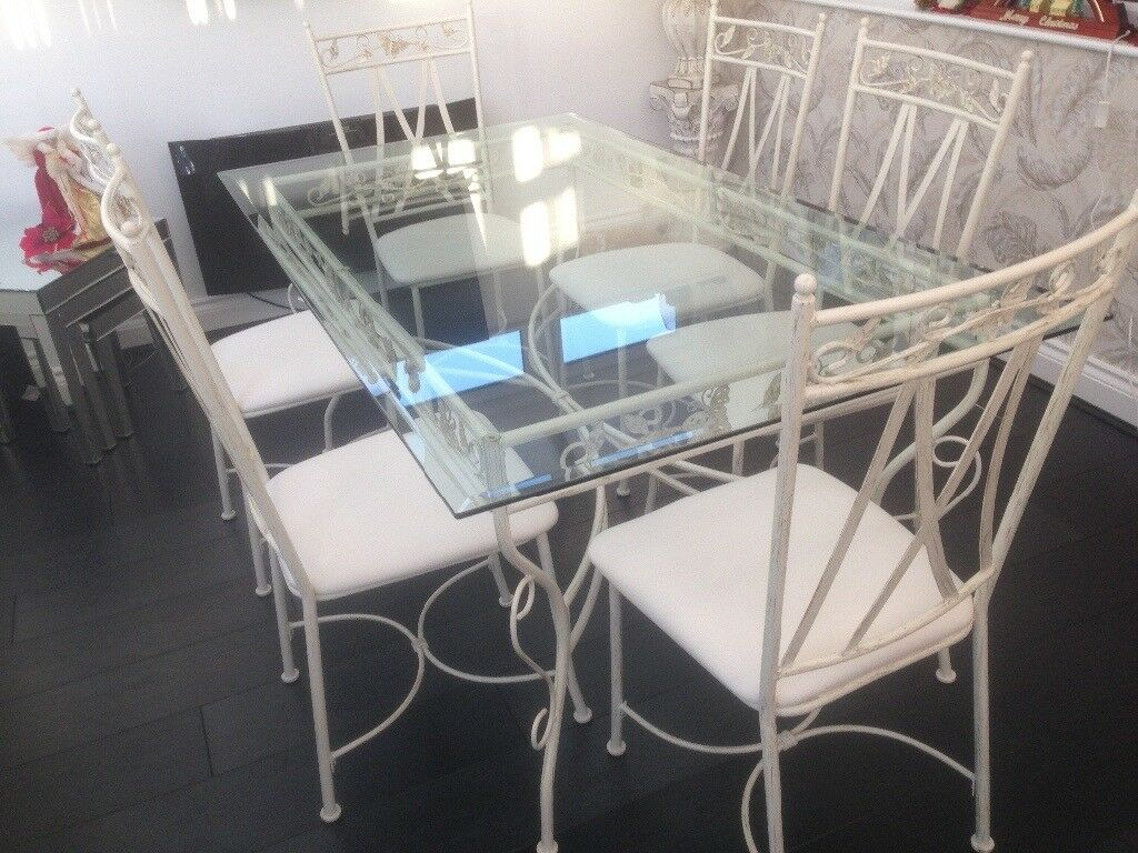 Glass Top Dining Table with 6 Matching Chairs