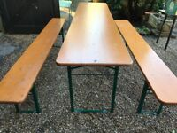 German Fully Folding Table and Bench Set