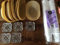 CATERING, BBQs, PARTIES : Balloon weights, ashtrays, bread baskets, various cups/mugs - prices £2-£9