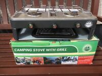 Camping Stove (2 gas rings) with Grill.