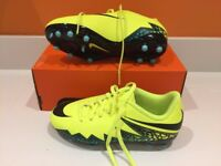 Brand new-Nike Hypervenom Phelon II FG football boots-Volt/Black/Turquoise/Clear Jade - Size 3 UK