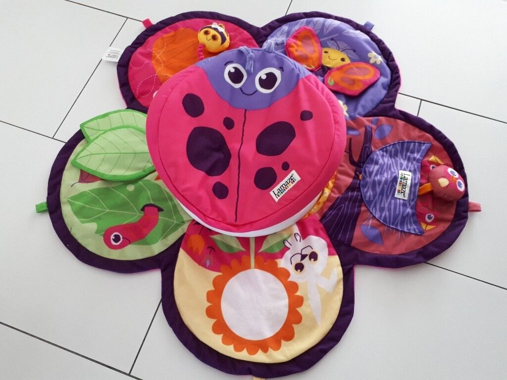 Lamaze tummy time pink activity play mat with turning top