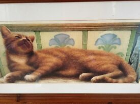 Beautiful ginger cat picture in solid pine quality frame