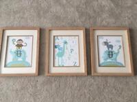 3 framed prints for baby room