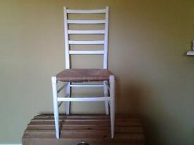 Shabby chic chairs. White with rush seats. Set of 4 will separate
