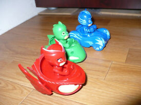 3x PJ Masks Vehicles with figures Cat Boy, Gekko, Owlette. Like new, never played with.