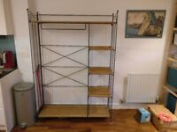 French vintage-looking open wardrobe in wrought iron and wicker for sale