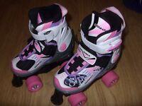 Kids / Girls Roller Boots / Skates - Senhai Speed Adjustable - Size 1 2 3 4 / EU 33-36 - Worn Once