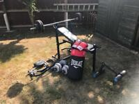 Gym stuff bench punch bag weights sit ups