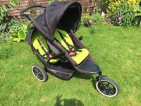 Phil and Teds Explorer Double Pram with Rain Covers and spare seat cushion