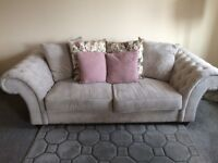 Sofa 3 Seater, Grey/Stone Fabric, Chesterfield Arms