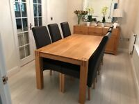 Light Oak Dining Table six chairs sideboard