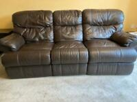Leather 3 seater sofa (two available)