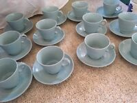 Green tea cups and saucers