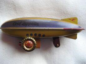 VINTAGE Tinplate Graf Zeppelin Promotional Toy, All Original with Box c1929 - Superb!
