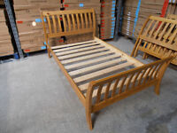 Solid Pine, antique pine finish, sleigh style small double Parma bed frame, HUGE DISCOUNT just £59!
