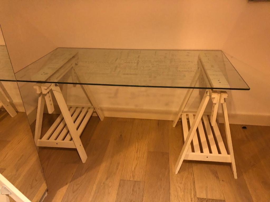 Ikea Finnvard Trestles Glasholm Glass Desk Large Adjustable Art