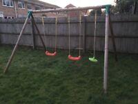 Solid wood frame, 2 swings & rope swing