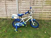 "Boys police bike with stabilisers and carry box 14"" wheels"