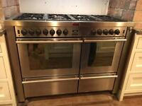 Stoves Range Cooker 7 Gas Rings, double electric fan oven and grill. Size 120x60x96cm