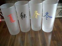 Chinese Season Glasses x 4