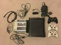 Black Xbox 360 120GB HDD with 12 games, 3 controllers, WiFi adapter, controller charger and cables