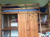Wooden Single High Sleeper