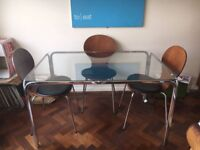 Vintage 1960's Chrome and Glass-Topped Dining Table and 4 Vintage Dining Chairs