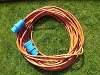 Camping Caravan Hook Up Extension Lead - Heavy Duty Orange Cable