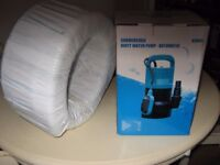 SUBMERSIBLE DIRTY WATER PUMP + A REEL OF 32ML PIPE - brand new in box