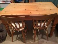 Family pine kitchen table and chairs
