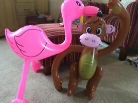 Monkey and flamingo inflatables