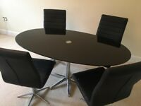 Dwell Stellar Black Glass Dining Table and 4 Swivel Chairs
