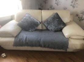 3 & 2 cream leather sofa