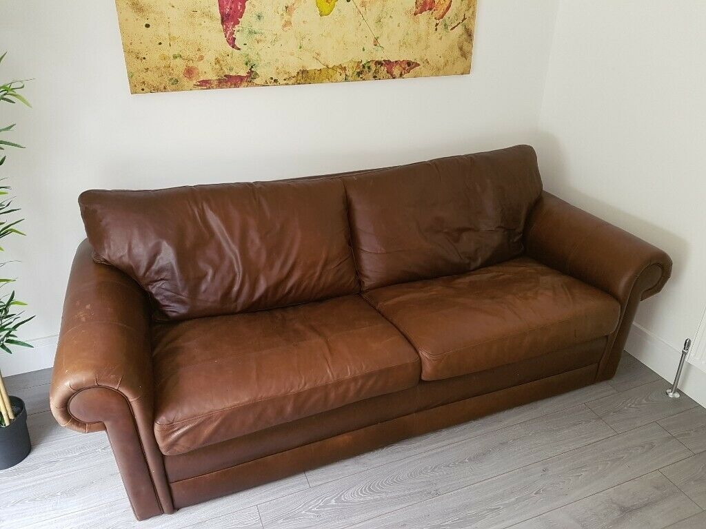Good Condition Curved Arm Brown Leather Sofa In Plymouth Devon Gumtree