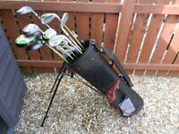 Set of Golf Clubs , Bag c/w stand , clubs , golf umbrella , tees and golf balls.