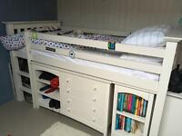 Kids midi bed with matching chest of drawers and pull out desk
