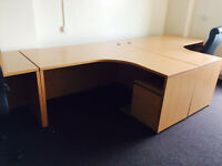 1.6 meter beech radial desk with pedstal