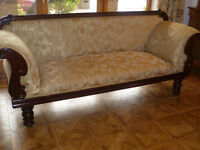 BEAUTIFUL HAND CARVED MAHOGANY 3 SEAT ANTIQUE CANAPE COUCH SETTEE SOFA DAY BED