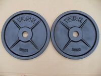 3 x Pairs of York Cast Iron 20kg Olympic Weights - toal 120kg