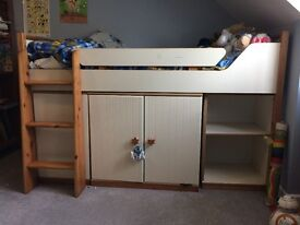 Child's Cabin Bed with cupboard and shelves below